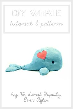 We Lived Happily Ever After: Walli The Whale Pillow Pet {Tutorial} - Kuscheltier Wal nähen - Freebook Sewing Stuffed Animals, Stuffed Toys Patterns, Sewing For Kids, Diy For Kids, Whale Pillow, Sewing Crafts, Sewing Projects, Whale Pattern, Tilda Toy