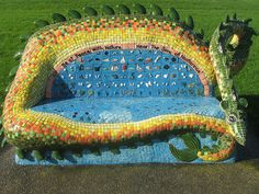 in her entirerity  our Ngataringa Taniwha / dragon mosaic seat. flickr