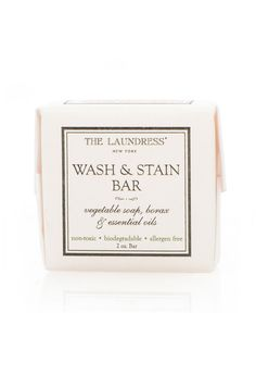 Wash & Stain Bar by the Laundress. For spot treating clothing, hand washing, and laundering on-the-go. Great for travel; airplane friendly.