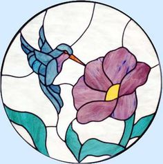 Free Stained Glass Patterns Flowers | stained glass hummingbird circle window