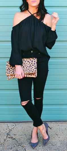 spring fashion /  Black Off Shoulder Top & Leopard Clutch