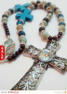 Sale  Cross Necklace Beaded Cross Necklace by AngryKittyOnline