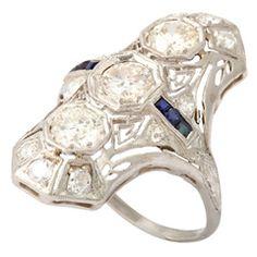 Platinum Diamond and Sapphire Dinner Ring