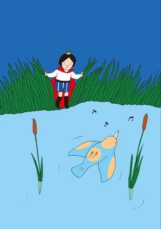 絵とおはなし「ごきげんな鳥さん」 変な鳥がいた。 池の水に仰向けになって浮かんで 気持ちよさそうに歌ってる。 「そんなことができる鳥って君くらいのもんじゃない? でも、一瞬死んじゃってるのかってびっくりしたよ。」 鳥は水に浮かびながら応えました。 「心配御無用。 多分みんな、とっても気持ちいいこと知らないだけさ。 誰でもできるよ。」 だって。 Fictional Characters, Fantasy Characters