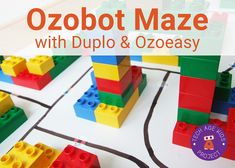 Ozobot Maze with Code Stickers and Building Blocks big kids coding little kids ozobot project robots tech craft tweens
