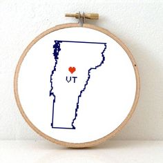 VERMONT Map Cross Stitch Pattern. Vermont art pattern with Montpelier. Vermont state ornament pattern. VT decor. Wedding gift.
