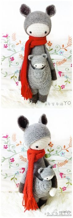 crochet kangaroo - outside my skill level for now, but maybe one day. This is really cute and I love the detailing on the pouch.