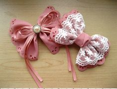 DIY Hair Bows : How to Make Two lolita Hair bows by Hands Making Hair Bows, Diy Hair Bows, Bow Making, Diy Ribbon, Ribbon Bows, How To Make Hair, How To Make Bows, Fabric Bows, Fabric Flowers