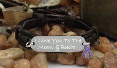 I Love You To The Moon & Back / Chiari Malformation Leather Bracelet / PURPLE Awareness Ribbon #M1