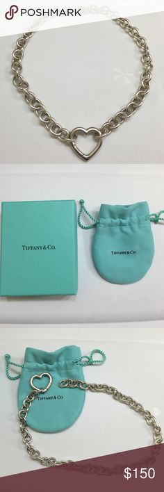 Tiffany Heart Neckalce Discontinued Tiffany & Co. Heart necklace in sterling silver. Comes with Tiffany & Co. bag and box. Tiffany & Co. Jewelry Necklaces