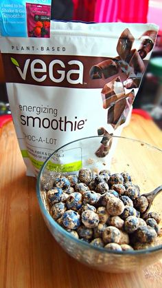 Two Ingredient: Chocolate Protein Blueberries. Post/Pre Workout Snack. High in: Protein, Antioxidants, Fiber and Omega-3. Vegan, Soy Free, Dairy Free, Gluten Free and Plant Based!