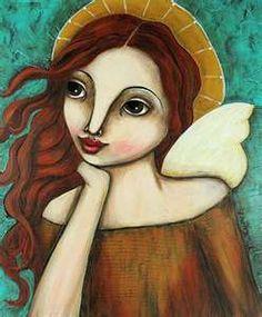 Art: Folk Art Angel 3 by Artist Michele Lynch