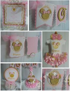 Minnie Mouse pink and gold Petite party package birthday decorations -high chair birthday outfit Minnie Mouse Birthday Decorations, Minnie Mouse 1st Birthday, Minnie Mouse Pink, Pink And Gold Birthday Party, Birthday Party Hats, Birthday Outfits, Happy Birthday, Pink Und Gold, Birthday Centerpieces