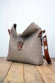 Felt Handbag with fold over top Felt Bag Womans Purse by Rambag