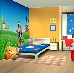 Funny Mickey Mouse Inspired Kids Room Designs : Contemporary Mickey Mouse Wall Decal Kids Bedroom Decor with White Frame Bed and Wooden Floo...