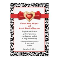 Black white damask with red jewel wedding invitations