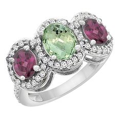 10K White Gold Natural Green Amethyst and Rhodolite 3-Stone Ring Oval Diamond Accent, sizes 5 - 10 ** Discover this special product, click the image : Promise Rings Jewelry
