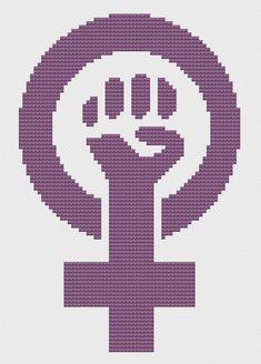Feminist fist in Venus symbol cross stitch pattern