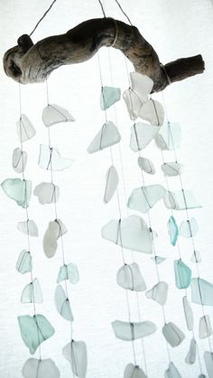sea glass and driftwood mobile diy                                                                                                                                                                                 More