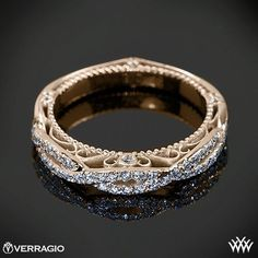 18k Rose Gold Verragio Twisted Diamond Wedding Ring from the Verragio Venetian Collection