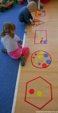 Use painters tape on chalkboard and put magnets on shapes for math center sorting