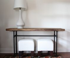 DIY industrial pipe console table