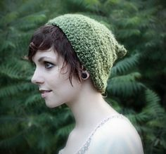 Pixie Hat - Green Hat - Slouchy Beanie - Slouch Oversized Hat - Moss Green - Warm - Fall