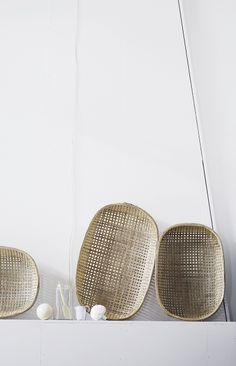 | DETAILS | TEXTURE | - objects for above the closets make fore interesting vignettes. Concept idea for mud room, to add texture. The layering of natural woven textures paired with a warm white interior.  Image Credit: unknown, please forward so appropriate credit can be included. #details #woven #texture