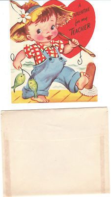 Vintage Valentine Card Fishing Boy Teacher Unused Die Cut for Children Kids | eBay