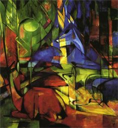 Deer in the Forest II - Franz Marc - 1914