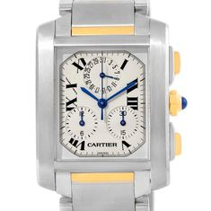 17349 Cartier Tank Francaise Steel 18K Yellow Gold Chrongraph Watch W51004Q4 SwissWatchExpo