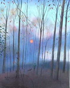 Deep in the Woods - Winter Sun - Nicholas Hely Hutchinson Landscape Illustration, Landscape Art, Landscape Paintings, Illustration Art, Art Sketchbook, Ink Art, Oeuvre D'art, Cool Artwork, Les Oeuvres