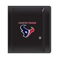 """NFL Houston Texans Zippered 3 Ring Binder, 250 Sheet Capacity, 1.625"""" Metal Ring #Markings"""