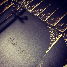 Wedding Wednesday this week is dedicated to all of Intricate Creations' couples getting married on Halloween this Saturday. They have all been ditching the orange embracing the black and using gold or bronze mirror to make their Halloween wedding a classy affair.  These are the Order of Services leaving our studio today for a Scottish wedding. Pearlescent black exterior with gold paper insert...you cannot go wrong with a black and gold colourway  #intricatecreations #lasercut…