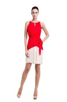 Rachel Elastic Waist Nursing Dress in Red & Beige