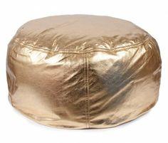 Leather Beanbag, Metallic Gold Large