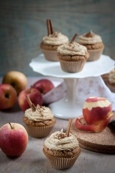 Vegan apple cider cupcakes with caramel frosting