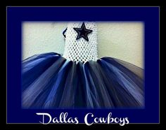 Girls Blue and White Dallas Cowboys  Themed  Football Tutu dress. made to order size NEWBORN to 2yrs