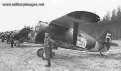 WWII, Finnish Air Force. Polikarpov I-153 line-up at Rmptti on 30th October 1942.