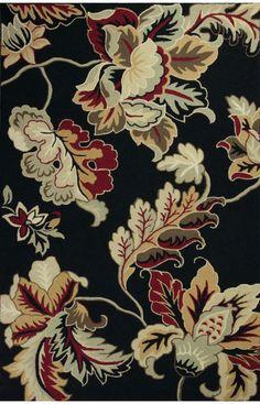 Kas Oriental Colonial Dasmask Floral Black Rug | Country & Floral Rugs