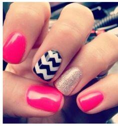 Hot pink & black/white chevron