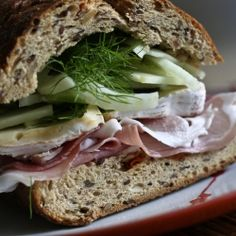 Prosciutto Sandwich w/Basil Apple Fennel Slaw. Transition between Summer and Fall with this big, tasty sandwich!