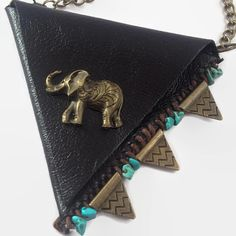 Indian Elephant Black And Gold Leather Neck Wallet With Turquoise  And Arrowhead Charms #native #amercian #hippie #boho #bohemian #gypsy #fashion #style #life #indian #elephant #coin #purse #leather #necklace #medicine #pouch #arrow #head
