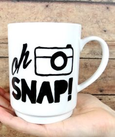 Gifts for Her to Help Keep New Year Resolutions: Oh Snap Photography Inspirational Motivational Quote Coffee Cup Mug by Light Hearted Life @ Etsy