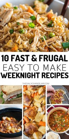 10 Frugal Dinners for When You're Broke. 10 fast and frugal easy to make weeknight recipes. Food makes up a lot of our budgets. But what do you do when money is really tight? Here are 10 frugal meals to make when you're broke. Food makes up a lot of Meals For Four, Large Family Meals, Quick Family Meals, Meals For Large Groups, Single Serve Meals, Group Meals, Meals For The Week, Cheap Easy Meals, Frugal Meals