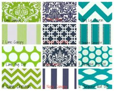 Custom Crib Bedding in Lime Navy and Turquoise by TheHeartofHope, $250.00