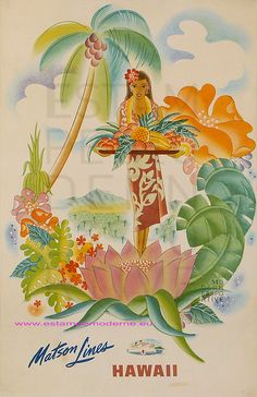 Tropical Abundance - Matson Lines to Hawaii - Vintage World Travel Poster by Frank Macintosh - Hawaiian Master Art Print - 13 x Old Poster, Retro Poster, Hawaian Party, Illustrations Vintage, Kunst Poster, Hula Girl, Vintage Hawaiian, Aloha Vintage, Vintage Travel Posters
