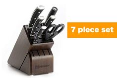 The Wusthof Classic Ikon 7 Piece knife block set is a best seller because it contains all you need in oder to create the perfect dish. Plus extra storage. Knife Block Set, Knife Sets, Wusthof Knives, Wusthof Classic, Best Kitchen Knives, Ikon, Shopping, Icons