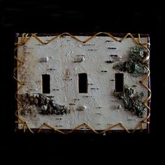 Handcrafted Birch bark Triple Switch Plate Cover by BINESHIIS