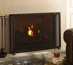 Industrial Single Screen Fireplace Collection | Pottery Barn